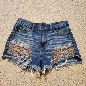 Hollister High Rise Floral Embroidered Jean Shorts